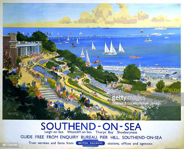 Poster produced for British Railways to promote rail services to Southend-on-Sea, Essex. Artwork by Frank Henry Mason , who was educated at HMS...