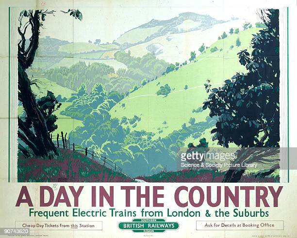Poster produced for British Railways to promote rail travel by electric trains to the countryside around London and the Home Counties The poster...