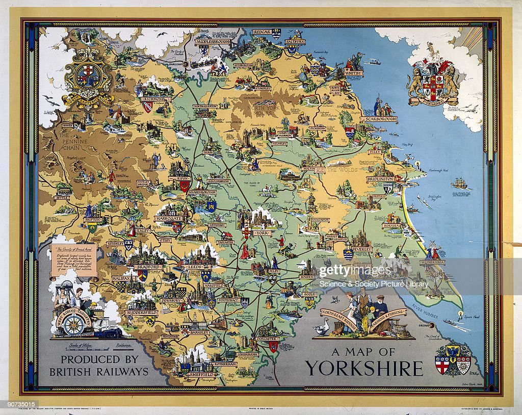 �A Map of Yorkshire�, BR poster, 1949. : News Photo