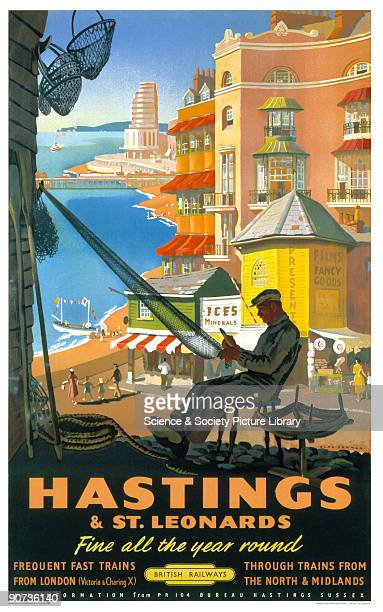 Poster produced for British Railways to promote rail travel to Hastings and St Leonards, East Sussex. The poster shows a fisherman making or mending...