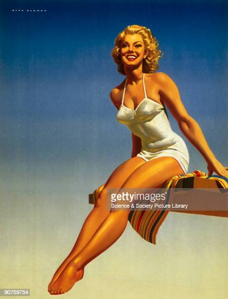 Poster produced for British Railways to promote rail travel to Portsmouth and Southsea in Hampshire The poster shows a bathing belle in a white...