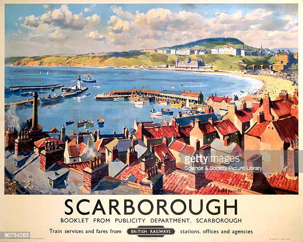 Poster produced for British Railways to promote rail travel to Scarborough in Yorkshire. The poster shows a view of the town and seafront. Artwork by...