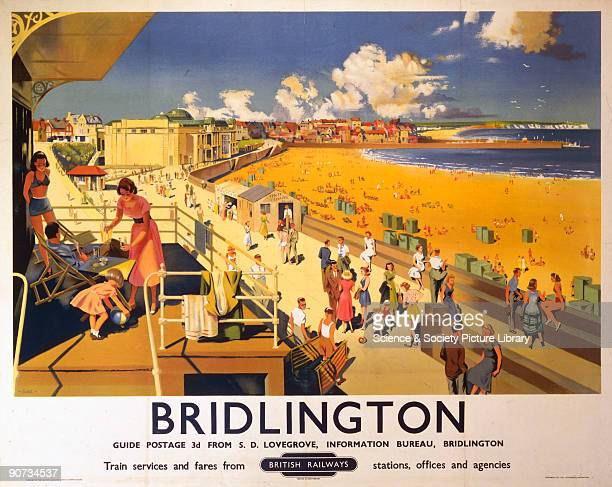 Poster produced for British Railways to promote rail travel to Bridlington North Yorkshire The poster shows an expansive view of the beach and...