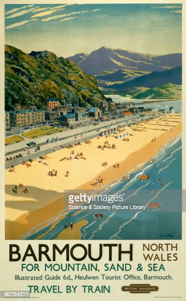 Poster produced for British Railways to promote rail travel to Barmouth, Gwynedd, North Wales. The poster shows a panoramic view of the mountains,...