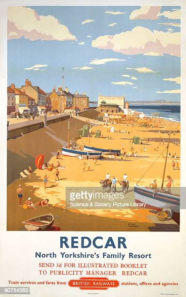 Poster produced for British Railways to promote rail travel to Redcar, North Yorkshire. The poster shows a view of the seaside with the promenade,...