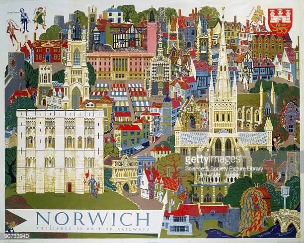 Poster produced for British Railways to promote rail travel to the city of Norwich Norfolk The poster shows a pictorial city view of Norwich's famous...