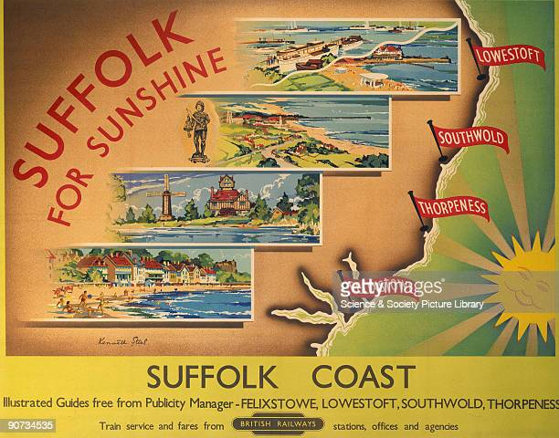 Poster produced for British Railways to promote rail travel to the popular holiday resorts of Lowestoft Southwold Thorpeness and Felixstowe on the...