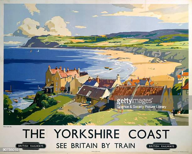 Poster produced for British Railways to promote rail travel to the Yorkshire coast. The poster shows a view of Robin Hood�s Bay, which lies on the...