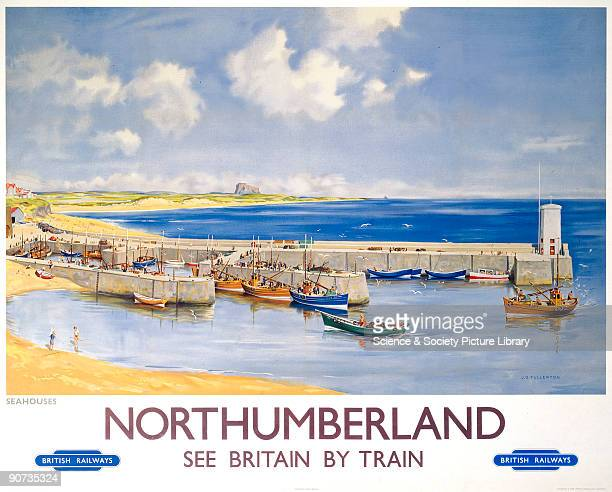 Poster produced for British Railways to promote rail travel to Northumberland. The poster shows a view of Seahouses on the north coast of...