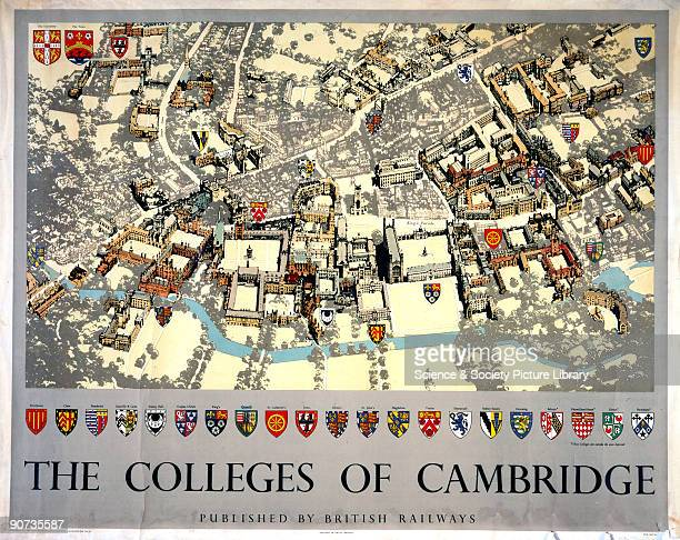 Poster produced for British Railways to promote rail travel to the historic university city of Cambridge The poster shows a maplike aerial view of...