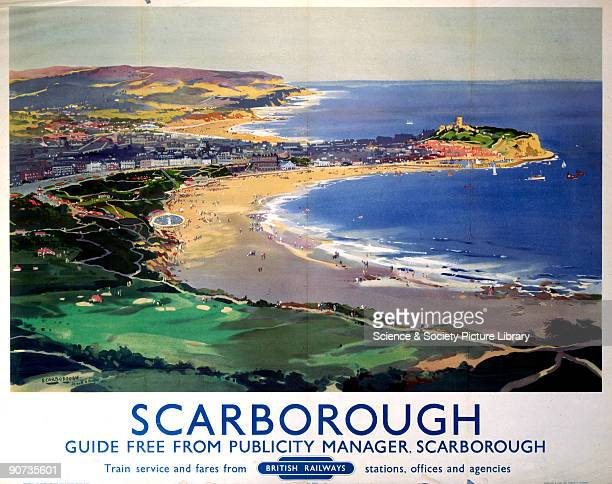 Poster produced for British Railways to promote rail travel to the coastal resort of Scarborough in Yorkshire. Artwork by Frank Henry Mason , who was...