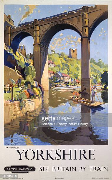 Poster produced for British Railways to promote rail travel to Yorkshire The poster shows a view of Knaresborough with the river and castle and a...
