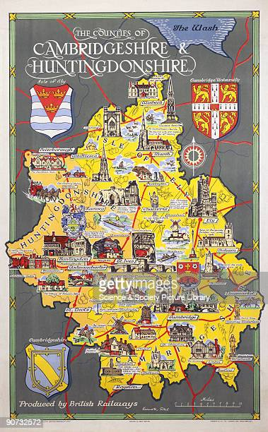 Poster produced for British Railways to promote rail travel within the counties of Cambridgeshire and Huntingdonshire. The poster shows a pictorial...