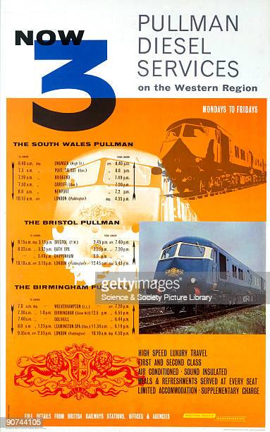 Poster produced for British Railways to promote the company�s three new Pullman diesel services, with routes serving South Wales, Brighton,...