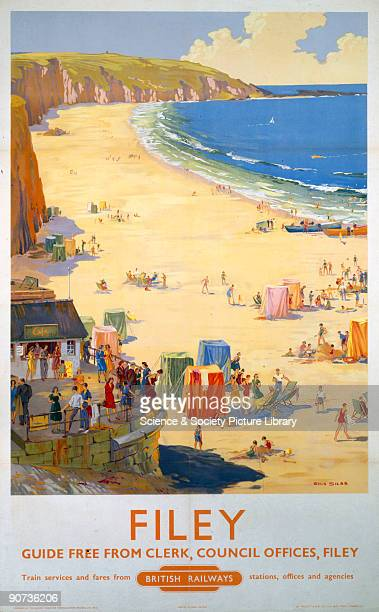 Poster produced for British Railways to promote train services to Filey, North Yorkshire. Artwork by Ellis Silas.