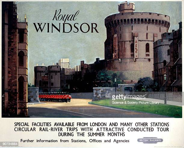 Poster produced for British Railways Western Region promoting rail travel to Windsor in Berkshire showing soldiers marching past Windsor Castle's...