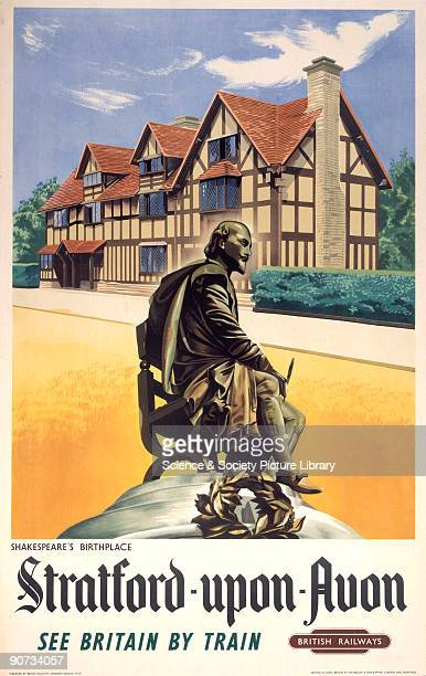 Poster produced for British Railways Western Region to promote rail travel to the Warwickshire town of StratfordUponAvon the birthplace of the...