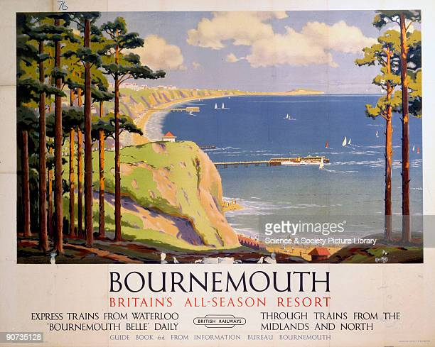 Poster produced for Britsh Railways to promote rail travel to Bournemouth, which could be reached by a daily service on the �Bournemouth Belle� from...