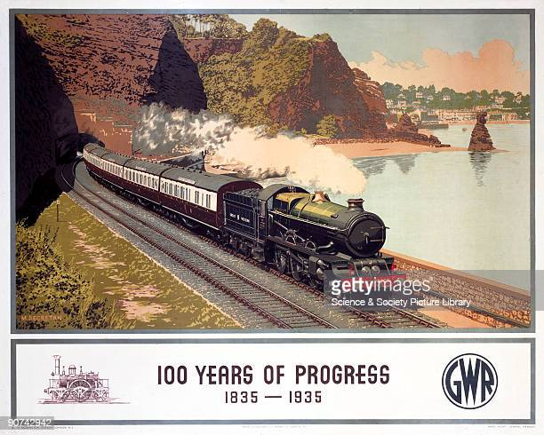 Poster produced for Great Western Railway to mark the centenary of the Great Western Locomotive King Charles II with the Cornish Riviera Express...