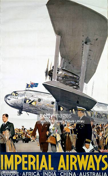 Poster produced for Imperial Airways with artwork by Albert Brenet showing passengers alighting from a Short L17 'Scylla' biplane This aeroplane went...
