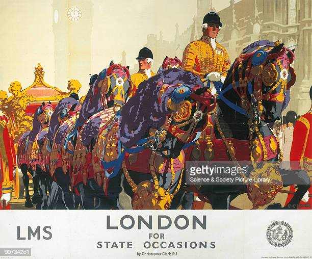 Poster produced for London Midland and Scottish Railway to promote rail travel to London The poster shows the magnficent pageantry which marks the...