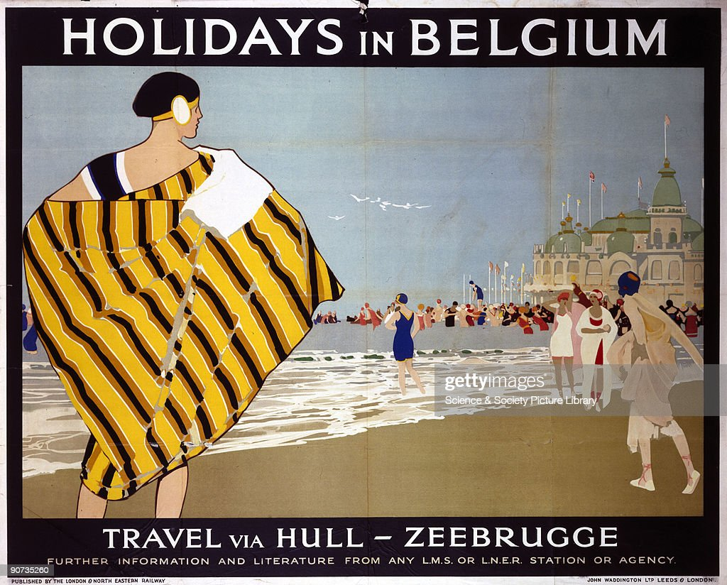 Poster produced for London, Midland & Scottish Railway (LMS) and London & North Eastern Railway (LNER) to promote the companies� services to Zeebrugge, Belgium via Hull. The poster shows a view of the beach in Zeebrugge with bathing belles on the shore. Artist unknown. Dimensions: 1016 mm x 1270 mm.