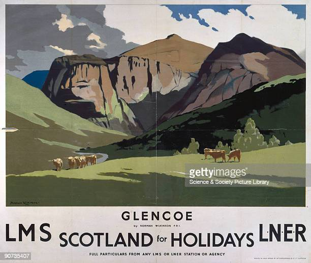 Poster produced for London Midland Scottish Railway and London North Eastern Railway to promote rail travel to Glencoe in the Scottish Highlands The...