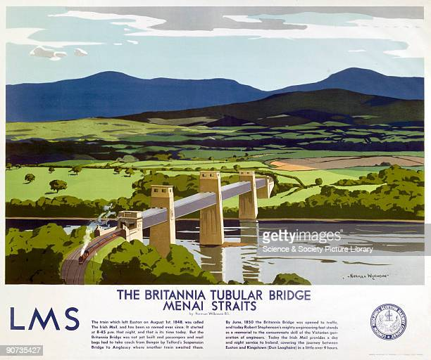 Poster produced for London Midland Scottish Railway to promote rail services on the Irish Mail The poster shows a view of the Irish Mail leaving the...