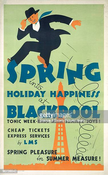 Poster produced for London Midland Scottish Railway to promote spring holiday rail travel to Blackpool Lancashire The poster shows an illustration of...