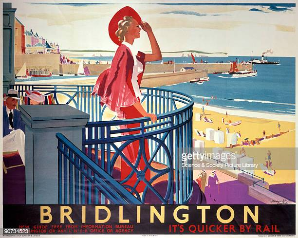 Poster produced for London & North Eastern Railway to promote rail travel to the popular Yorkshire seaside resort of Bridlington. The poster shows an...