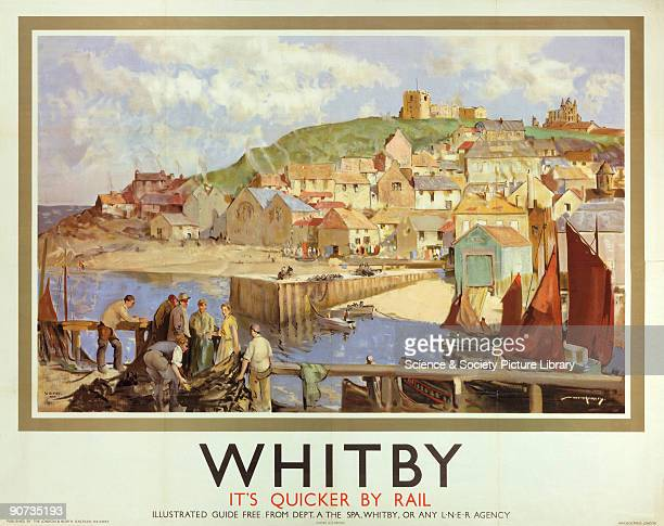 Poster produced for London North Eastern Railway to promote rail travel to Whitby North Yorkshire The poster shows a view across to the Abbey from...