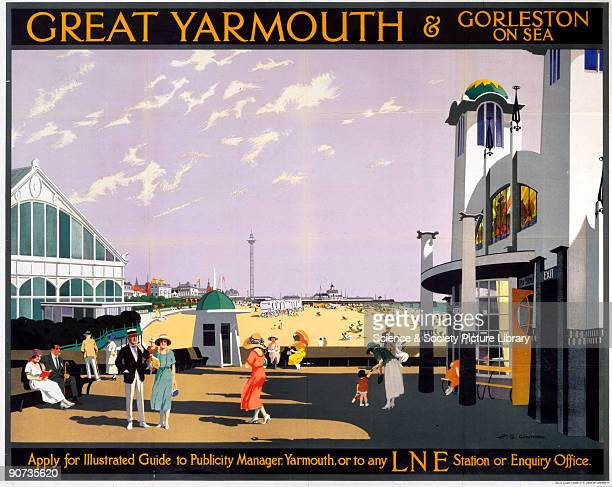 Poster produced for London North Eastern Railway to promote rail services to Great Yarmouth and GorlestononSea in Norfolk Artwork by Henry George...
