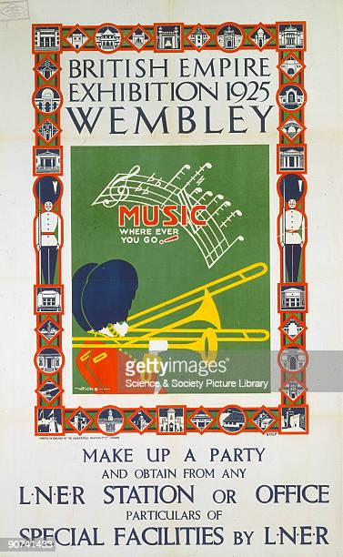 Poster produced for London North Eastern Railway to promote rail services to the British Empire Exhibition at Wembley London The poster shows a...