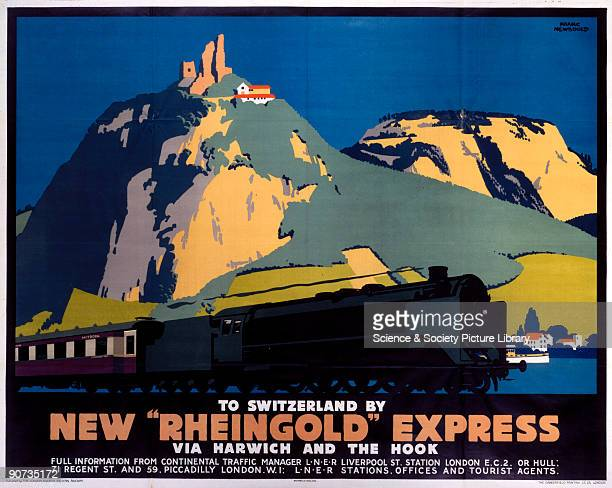 Poster produced for London North Eastern Railway to promote services to Switzerland on the new �Rheingold� express via Harwich and the Hook of...
