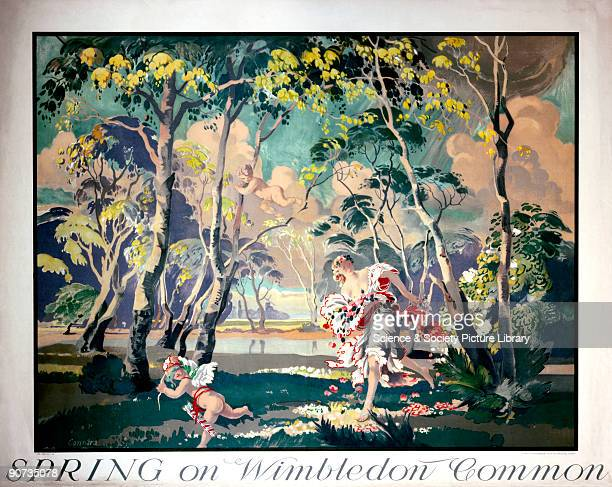 Poster produced for London Underground to promote underground rail travel to Wimbledon The poster shows a traditional allegory of spring represented...