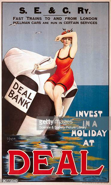 Poster produced for South Eastern Chatham Railway promoting rail travel to the Kent resort and cinque port of Deal showing a young woman wearing a...
