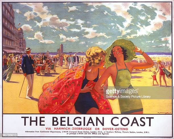 Poster produced for Southern Railway and London North Eastern Railway to promote rail and sea services from Harwich and Dover to Zeebrugge and Ostend...