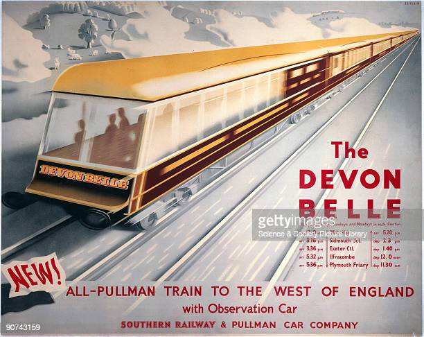 Poster produced for Southern Railway to promote rail services between the West of England and Waterloo Station London The poster shows �The Devon...