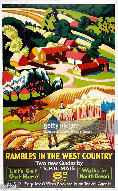 Poster produced for Southern Railway to promote rail services to the West Country for rambling Artwork by Audrey Weber