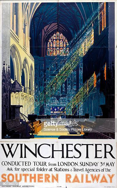 Poster produced for Southern Railway to promote rail travel to Winchester Hampshire The poster shows an interior view of Winchester Cathedral the...