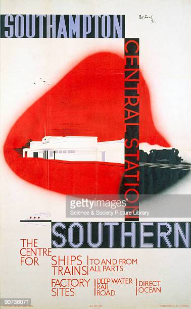 Poster produced for Southern Railway to promote Southampton Central Station �the Centre for Ships and Trains to and from all parts� and the nearby...