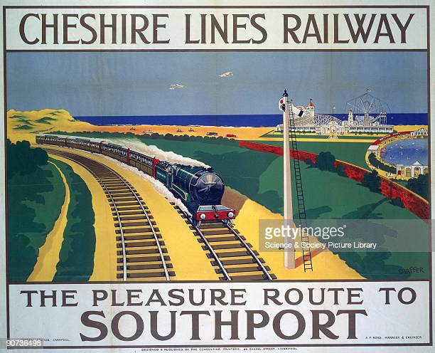 Poster produced for the Cheshire Lines Railway to promote rail travel to Stockport Merseyside The poster shows a holiday express train with Southport...