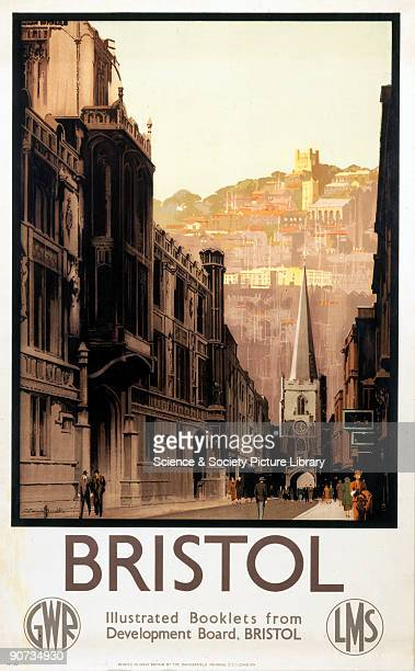 Poster produced for the Great Western Railway and the London Midland Scottish Railway promoting rail travel to the city of Bristol Avon showing a...