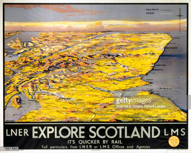 Poster produced for the London and North Eastern Railway and London Midland and Scottish Railway promoting rail travel to Scotland showing a stylised...