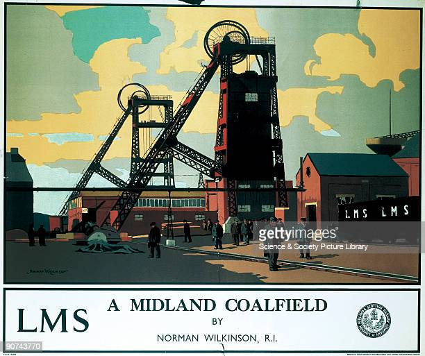 Poster produced for the London Midland and Scottish Railway showing a coalfield in the Midlands The poster shows a pityard scene with miners coming...