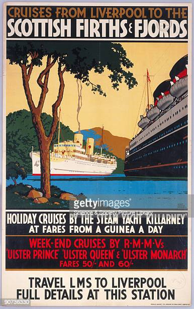 Poster produced for the London Midland Scottish Railway advertising holiday cruises from Liverpool on the steam yacht 'Killarny' and weekend cruises...