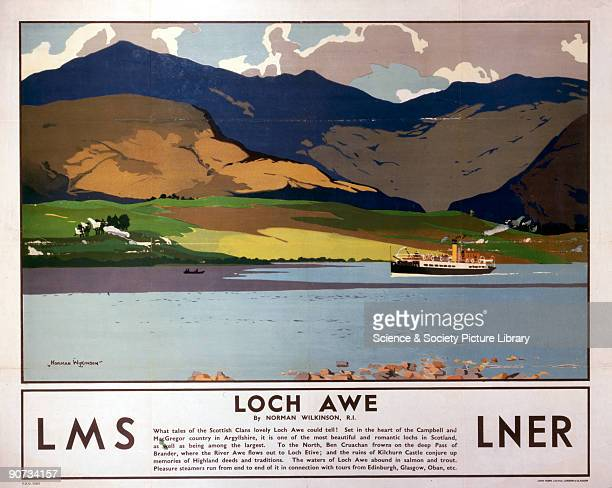 Poster produced for the London Midland Scottish Railway and the London North Eastern Railway promoting rail travel to Loch Awe in Argyllshire The...