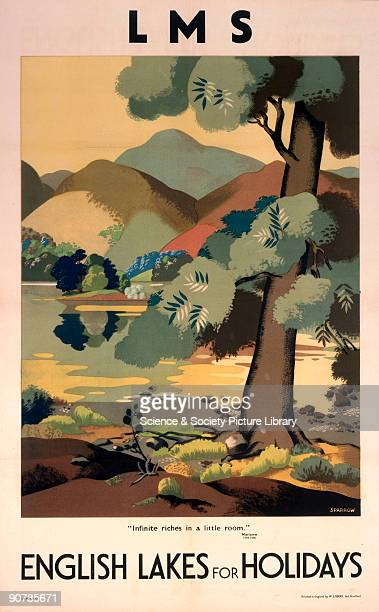 Poster produced for the London Midland Scottish Railway promoting holidays in the Lake District showing a lake with hills in the background and trees...