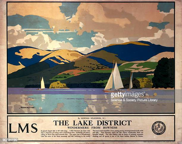 Poster produced for the London Midland Scottish Railway promoting rail travel to the Lake District showing a view of Lake Windermere where small...