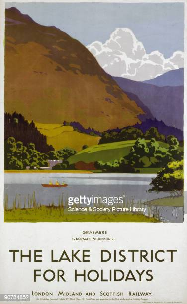 Poster produced for the London Midland Scottish Railway promoting rail travel to the Lake District The poster shows a view of Grasmere with a view...